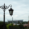 From old to new; the view of Warsaw national stadium from Castle Square in the Old Town (dating from 16th Century