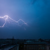 Night-time lightning over Warsaw, Poland