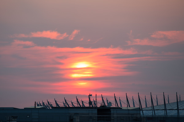 Sunrise over Warsaw stadium, Poland