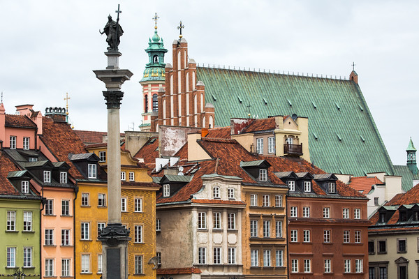 Old Town in Warsaw, showing Sigismund's column, St John Cathedral and the buildings fronting Castle Square