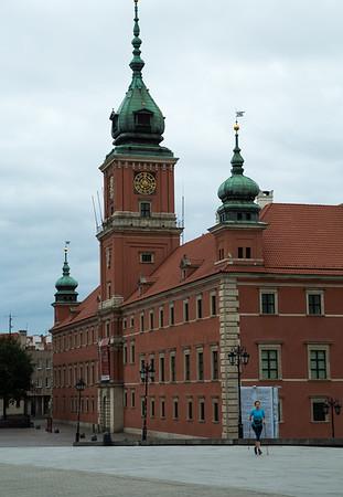 Nordik walker in front of Royal Castle, Warsaw, Poland