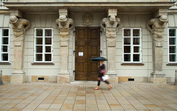 Tyszkiewicz Palace, Museum of University of Warsaw, on a wet morning, Warsaw, Poland