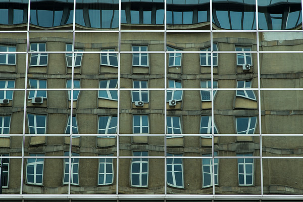 Windows within windows; office building reflections, Warsaw, Poland
