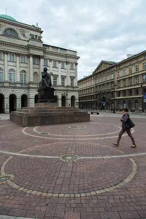 Walking between the orbits of Earth and Mars: the Nicolaus Copernicus monument in front of the Polish Academy of Sciences, Warsaw, Poland
