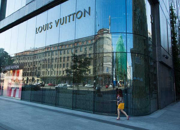High fashion, Louis Vuitton street reflections, Warsaw, Poland
