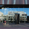 Cyclist and street reflections, Copernicus Science Centre, Warsaw, Poland