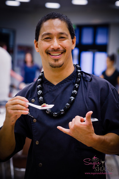 "Chef Lyndon Honda with his delicious appetizer. Chef Lyndon was instrumental in organizing this dinner as well as the live ""Black Box"" Chefs' Challenge at the AgFest. © 2014 Sugar + Shake"