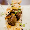 Bone-in meatballs, papaya ketchup, and marrow confit pineapple by visiting Canadian chef Pierre Lamielle. © 2014 Sugar + Shake