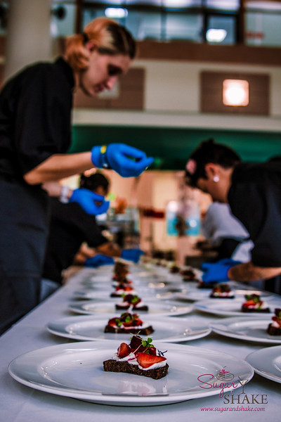 Pre-dessert cheese course plating up. Students from the Maui Culinary Academy, where the event was held, helped prepare all the dishes. © 2014 Sugar + Shake