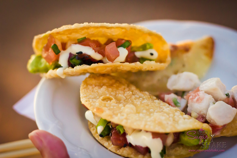 """Poke Tacos from Hula Grill at Progressive Kā'anapali, the first of the <a href=""""http://kaanapalifresh.com"""">Kā'anapali Fresh Food & Wine Festival</a> events. One of our favorite dishes of the evening. © 2012 Sugar + Shake"""