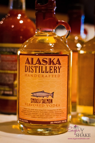 Alaska Distillery Smoked Salmon vodka at brunch for Bloody Marys. It's...interesting. Definitely salmon-y. Probably best in small doses. © 2012 Sugar + Shake
