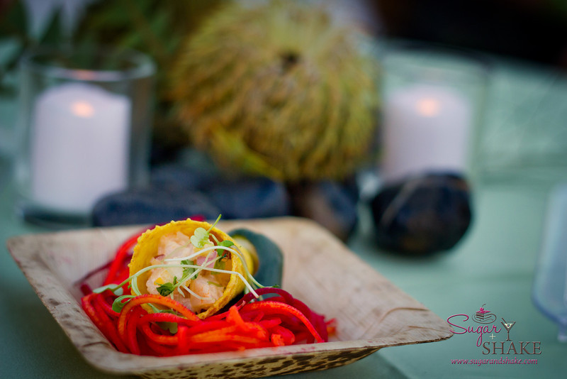 "Curried shrimp and mango ""ice cream"" cone, namasu vegetables, crunchy beet nest by Chef Chris Schobel of Hula Grill Maui. © 2012 Sugar + Shake"