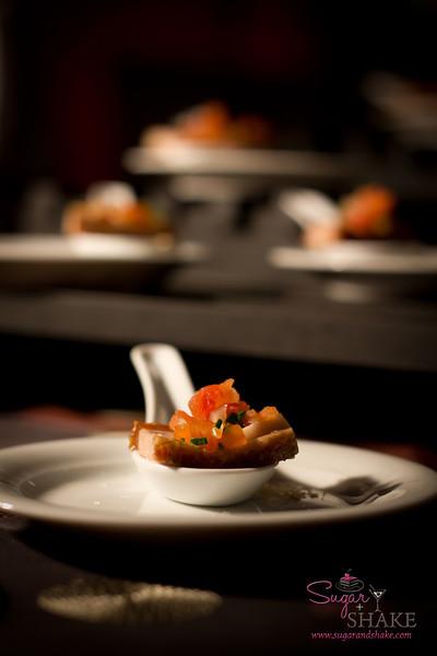 The finished Westin dish was our Progressive Kā'anapali favorite: Crispy Kalua Pork Belly & Poi with Lomi Kula Tomato. © 2012 Sugar + Shake