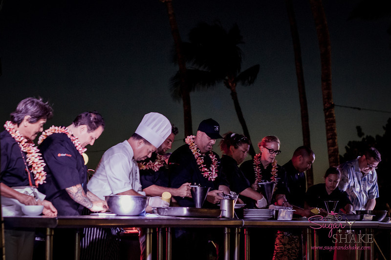 Mālama Maui participating chefs (in black, with lei) from left to right: Hiroyuki Sakai, Rick Tramonto, Marcel Vigneron, Greg Grohowski, Bev Gannon. © 2013 Sugar + Shake