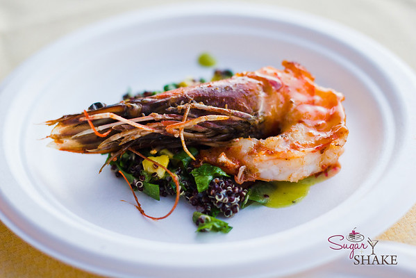 Spicy Kauai Prawns, Sweet Corn, Quinoa Salad, Jalapeno Basil Vinaigrette from Merriman's Kapalua (Executive Chef Neil Murphy). © 2012 Sugar + Shake