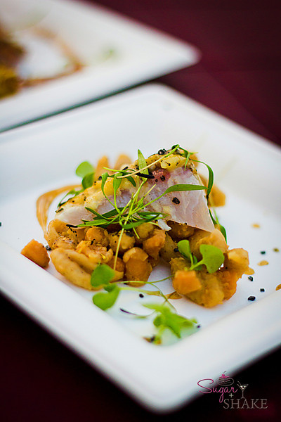 Garlic Roasted Kampachi, Smoked Tuscan Beans, Butter Orecchiette & Proscuitto di Parma from Capische? © 2012 Sugar + Shake