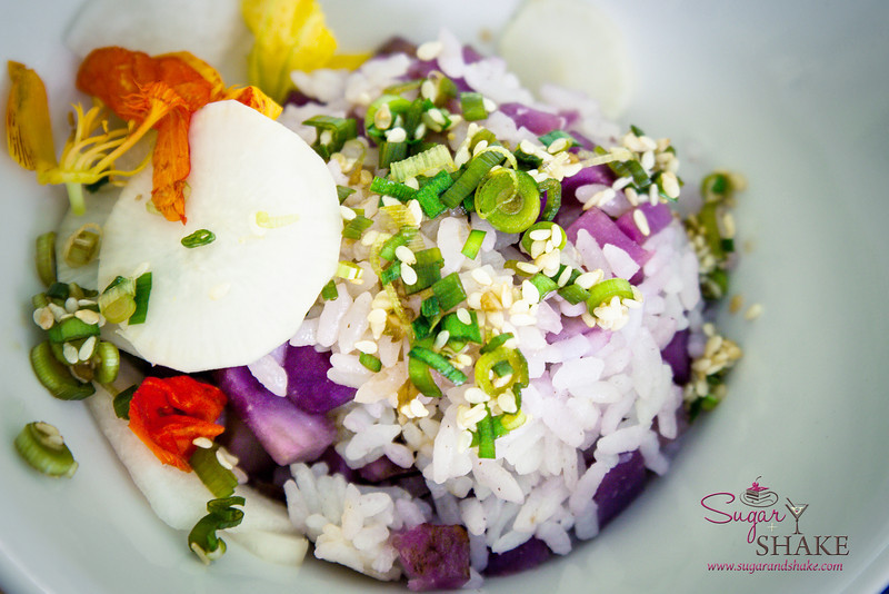 Maui AgFest 2014 Grand Tasting: Chef Jojo Vasquez (The Plantation House) with James Simpliciano (SimpliFresh) — Goguma-Bap (Sweet Potato Rice). Culinary Influence: Korean. Third Place, Judges' Choice. © 2014 Sugar + Shake