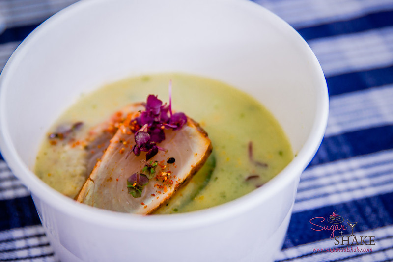 Maui AgFest 2014 Grand Tasting: Chef Bobby Masters  (Hula Grill Kā'anapali) with Bryan Otani (B. Otani Farms) — Chilled Japanese Cucumber Soup with Shichimi Cured Ono Pastrami Culinary Influence: Japanese. © 2014 Sugar + Shake