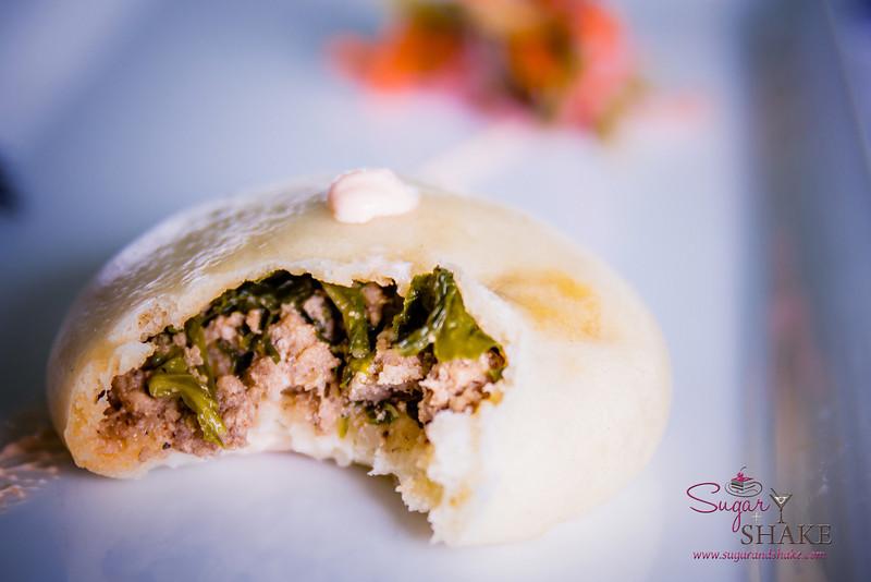 Maui AgFest 2014 Grand Tasting: Chef Wesley Holder (Pūlehu at The Westin Kā'anapali Ocean Resort Villas) with Jamie Shishido (J. Shishido Farm) — Kai Choi Lup Cheong Manapua. Culinary Influence: Chinese. © 2014 Sugar + Shake