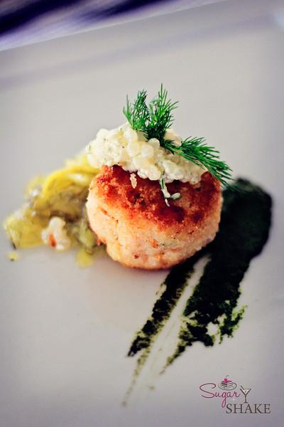 Pan-Fried Smoked Salmon 'Ulu (Breadfruit) Cakes w/ Tapioca Tartar Sauce, from Chef Riko Bartolome. © 2012 Sugar + Shake