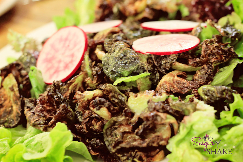 "We did eat real food, too. This is a ""fried salad""–a specialty of the restaurant, and formerly served at Star Noodle. Those charred looking things? Brussels sprouts. @Chef_Jay and Shake took great delight in the fact that ordering this (which tops their list of favorites) got Sugar to consume Brussels sprouts willingly...and even have seconds. © 2012 Sugar + Shake"