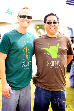 Shirt models! This is Ian Cole of The Breadfruit Institute, and Jay Terauchi (@Chef_Jay), a blogger/food consultant/Twitter addict and all-around awesome guy. And we're not just saying that because he bought us lunch the next day. © 2012 Sugar + Shake