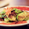 This is another Shake favorite: Brussels Sprouts – Pan roasted, Bacon, Kim Chee Puree. © 2012 Sugar + Shake
