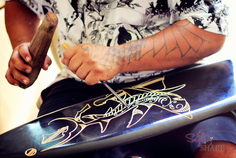 We asked if he knew what he would carve before he started and he said, no. It just comes to him as he works. He also leaves space so that a customer can ask to have some customization, like a family name or special design, added. © 2012 Sugar + Shake