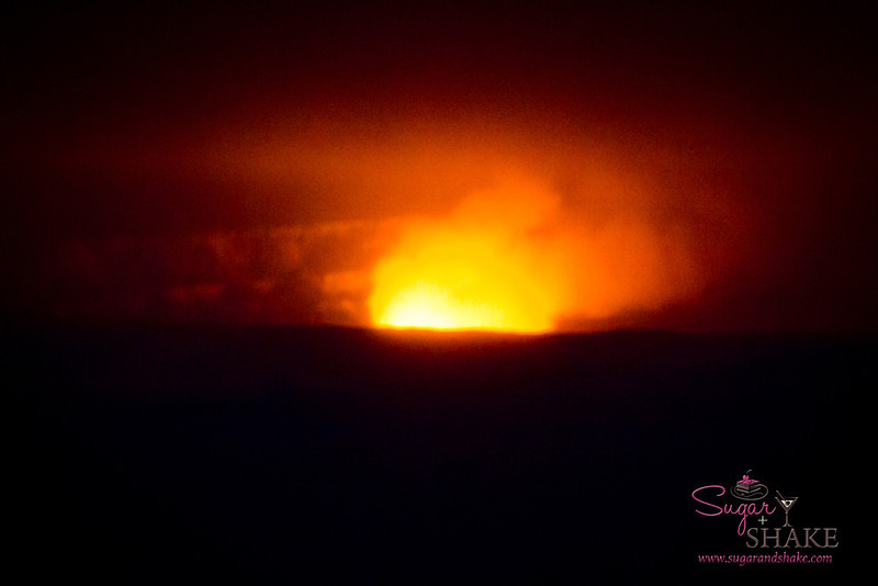 Halema'uma'u Crater, Kīlauea Volcano summit. Night. (The volcano's not spewing lava, although this photo makes it sort of look like it is. It <i>is</i> active, but that just means there's lava flowing beneath the ground, and it does bubble to the surface. You can see the glow at night. This particular night, it was rather misty, so that enhanced the glow. Plus, long exposure.) © 2012 Sugar + Shake