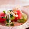 "Kā'anapali 5-0 Dinner: Compressed Watermelon & Green Tomato ""Sashimi,"" Kaiware Sprout Salad with Maui Onion Crisp & Shiso-Shoyu Syrup. © 2013 Sugar + Shake"
