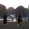 Morning workout routines were business as usual Saturday at the Oklahoma Track at Saratoga Race Course.