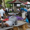 It's a made dash to lay claim to a picnic table Saturday morning at Saratoga Race Course.
