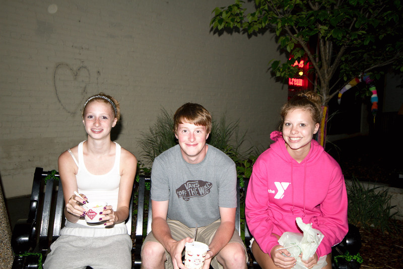 Carly, Alex, and Megan, after ice cream in downtown TC