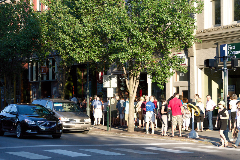A line forms for a movie as part of the film festival