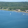 Shoreline view from the parasail, east bay Traverse City MI.   This entire bay is so clean and clear, you can be miles out and still see straight to the bottom.