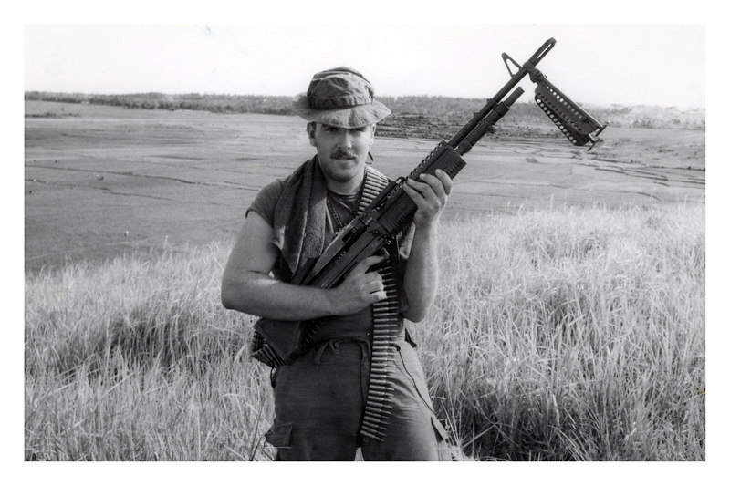 JT -12: Jim Treacy with M60. He actually preferred carrying his M203 Rifle/ grenade launcher. Jim was in the field with the 3rd Platoon for half of his tour and the Gunfighter unit clerk for the second half of the tour - better than the other way around.