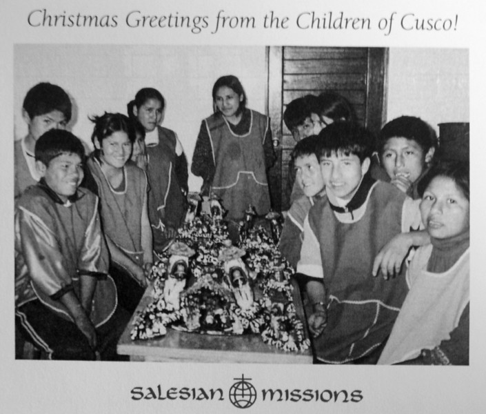 These are children in the Salesian mission with the nativities.