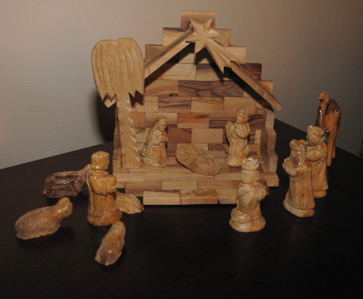 This creche was a gift from Ann's mother. It's carved from olive wood in Bethlehem. She purchased it in Israel in the 1990's.
