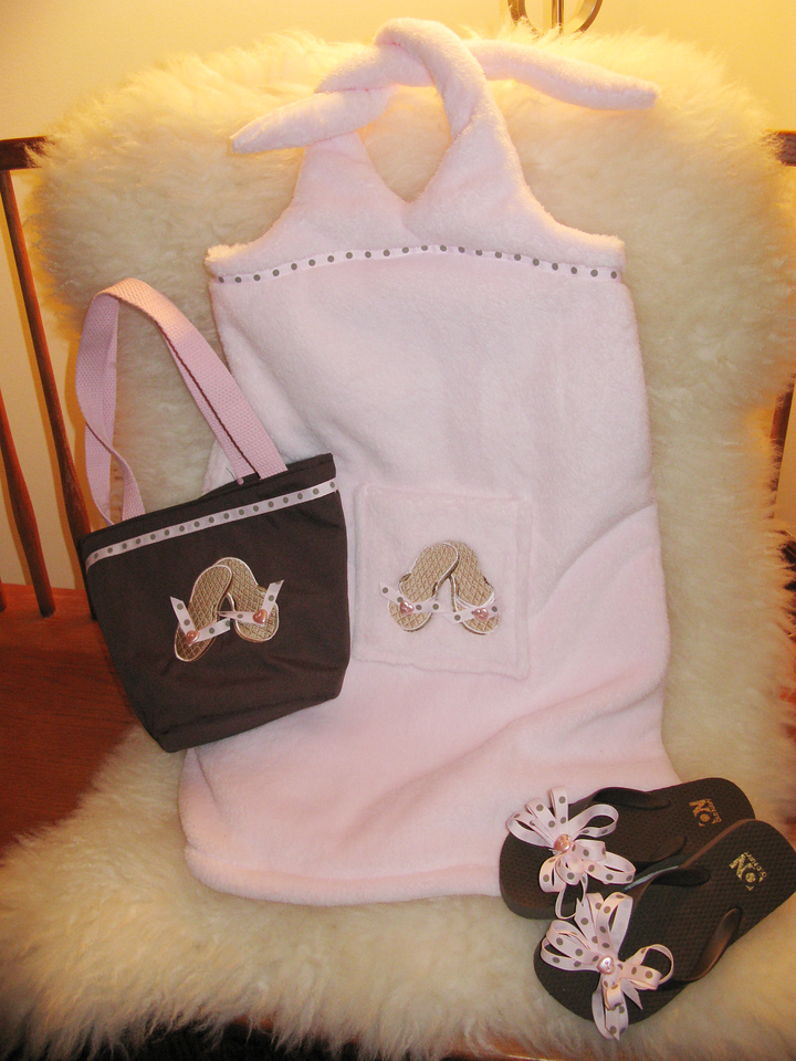 Ella's swim cover up, purse, and shoes