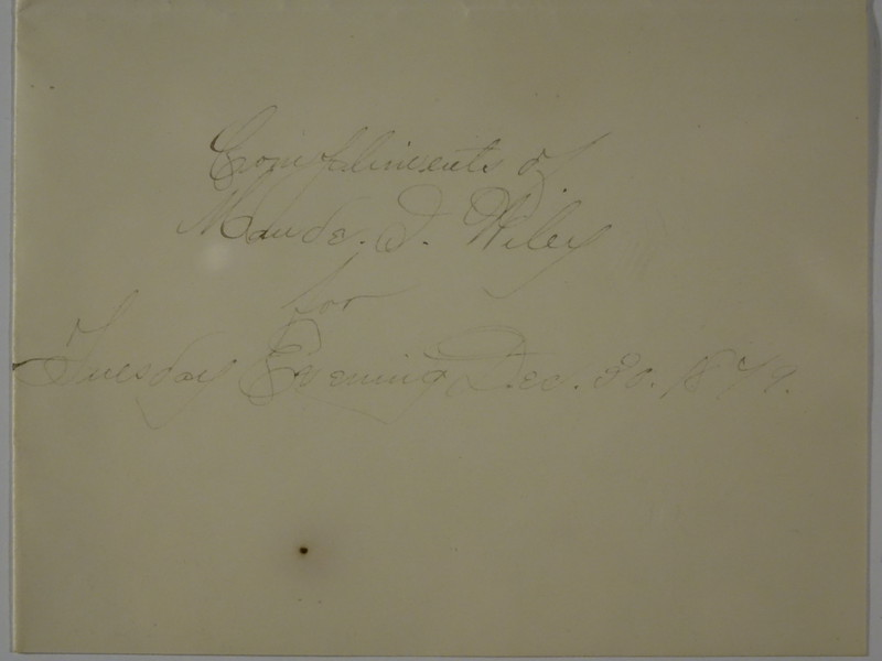 1879 Dec 30 Invitation to Arthur C Stebbins From Maude Wiley