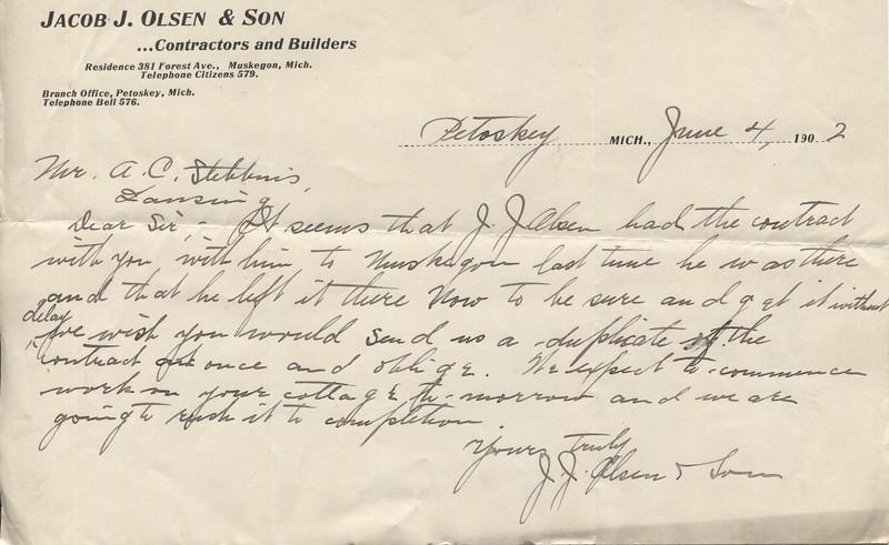 1902 June 4 Letter from Mr JJ Olsen to AC Stebbins re building of Roaring Brook Cottage