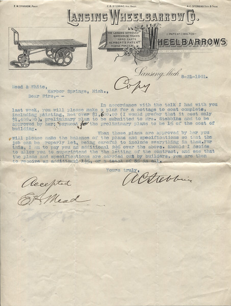 1901 Aug 21 Letter from ACS to  Mr Mead Re building the Roaring Brook Cottage