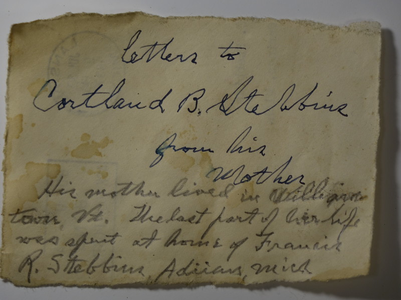 Letters from CB Stebbins 1st to his mother who lived in Willianstown VT later lived with Francis R Stebbins in Adrian MI