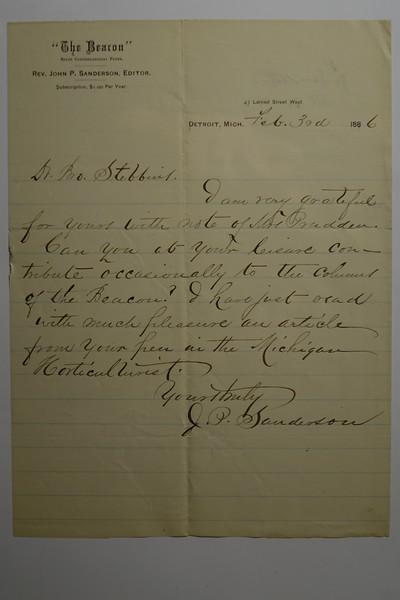 1886 Feb 3 re CB Stebbins article in Michigan Horticuluralist