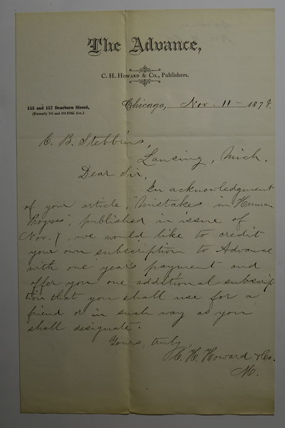 1878 Nov 11 to CB Stebbins for (Mistakes in Human Progress Article) from C H Howard