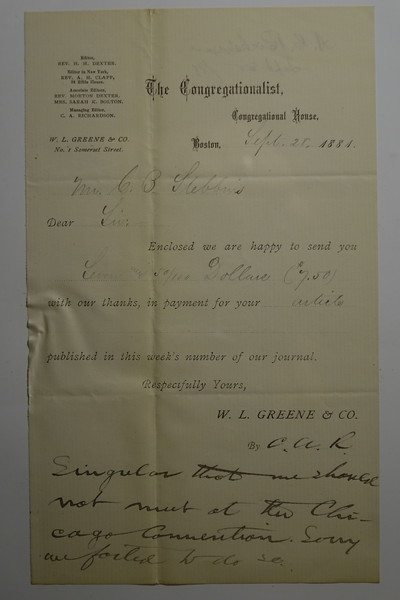 1881 Sept 28 receipt for CB Stebbins Article in Congragationalist