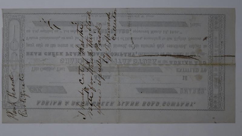 Shares CB Stebbins Adrian & Bean Creek Plank Road Company 1848