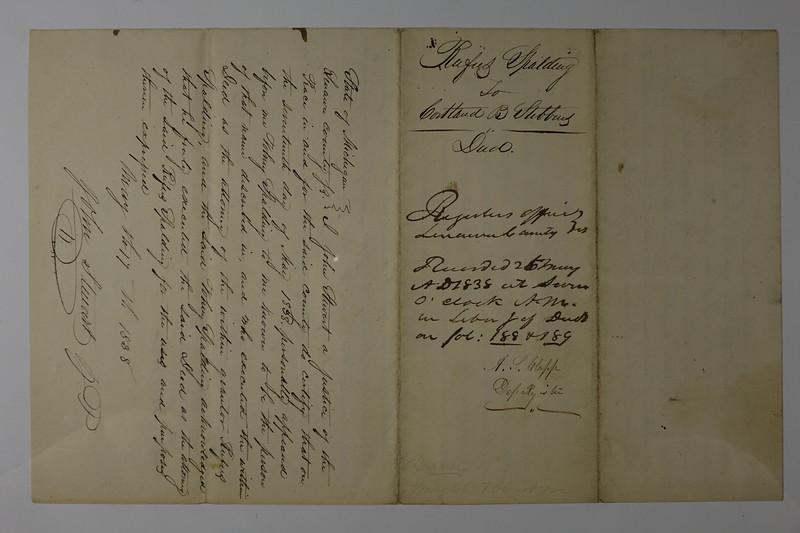 1838 Deed From Rufus Spalding to CB Stebbins Palmyra MI