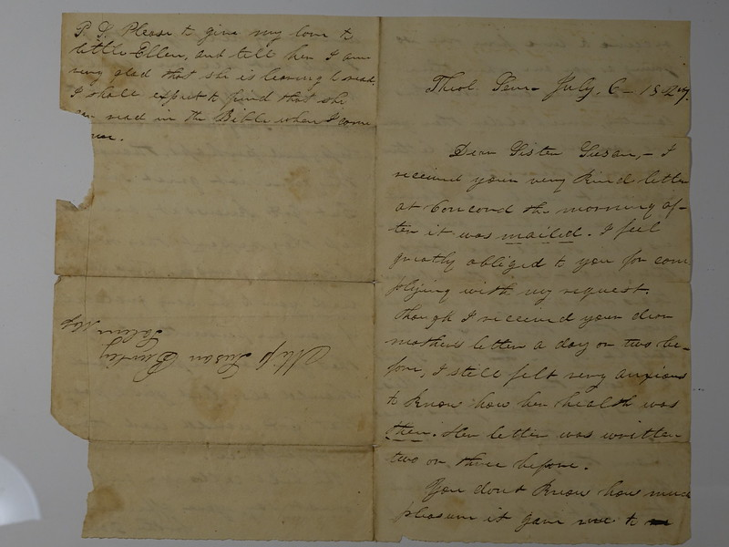 1827 Letter Brother David to Susan Burley