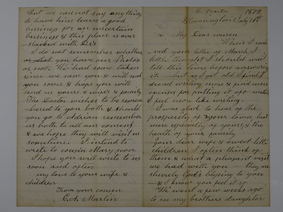 Letters to CB Stebbins From Catherine A Cossett Martin 1860-1869